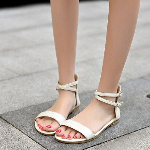 COOLCEPT Femme Mode Sangle de Cheville Sandales Bout Ouvert Plat Chaussures Avec Fermeture Eclair Beige