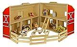 BAKAJI Play Set Fattoria Fienile Casale Vero Legno Con 17 Pezzi Animali Accessori Wooden Toys Piega e Vai