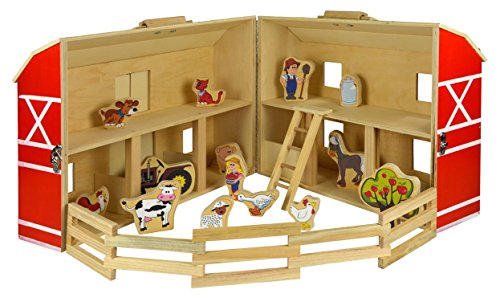 Títeres 56471 - Juego Set Wood Farm, 17 piezas, aproximadamente 34,3 x 27 x 18,6 cm