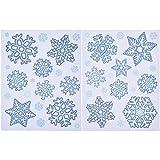 Blulu Copo de Nieve Etiqueta Engomada de la Ventana del Brillo Pegatinas para la Decoracion de Navidad, 2 Piezas, 2 Patrones