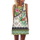 Elecenty Damen Ärmellos Sommerkleid Minikleid Strandkleid Partykleid Rundhals Rock Mädchen Blumen Drucken Kleider Frauen Mode Kleid Kurz Hemdkleid Blusekleid Kleidung (L, Weiß 9)