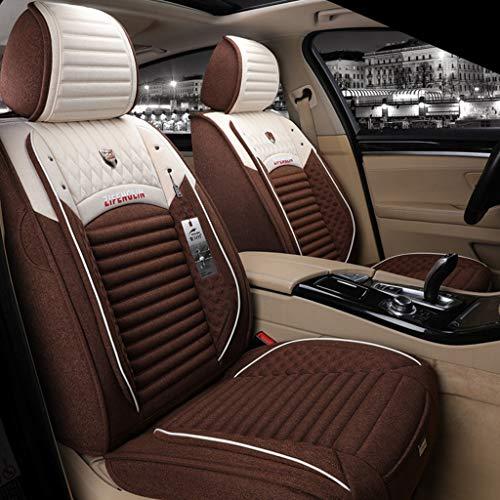 Yunchu Auto sitzbezüge Flachs Autositzbezug Bequeme, atmungsaktive Passform Fünf Sitzplätze Auto Vier Jahreszeiten Verwenden Sie die Vordersitz- und Rücksitzschutzbezüge (Color : Coffee)