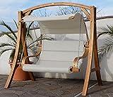 Design Hollywoodschaukel ANTIGUA-BEIGE aus Holz Lärche mit Stoffsitz von AS-S