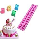 valink 3D-Buchstaben Typ Candy Fondant Kuchen Silikon Formen Backform Matte Form Bakeware Cupcake Schokolade Dekoration Tablett für Küche Backen Formen–26x 5,3x 2,1cm