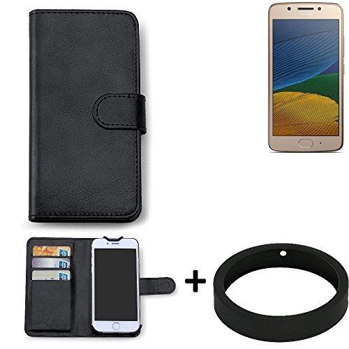 K-S-Trade Case für Lenovo Moto G5 Single-SIM Schutz Tasche Hülle Walletcase schwarz Handytasche Handy Case Schutzhülle inkl. Bumper