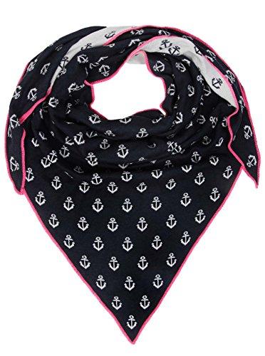 Zwillingsherz Dreieckstuch mit Baumwolle - Hochwertiger Schal mit Anker Print für Damen Jungen Mädchen - XXL Hals-Tuch und Damenschal - Strick-Waren - für Winter Sommer von Cashmere Dreams nav/pin -