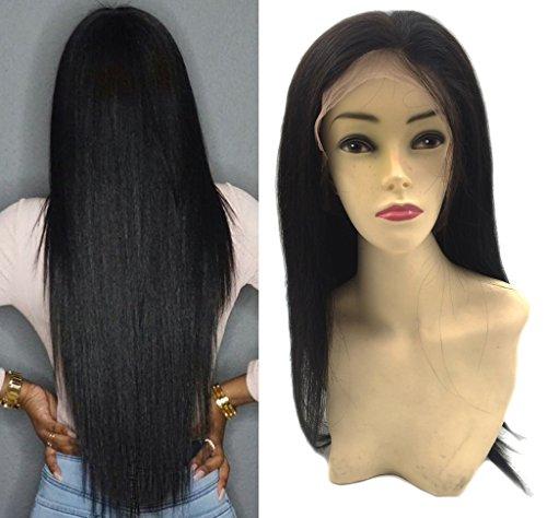 Moresoo Raide Droite Cheveux Naturel Full Pleine Dentelle Wig 150gram Meches Naturel Vierges 16 Pouces/40cm Naturel Noir 1B 130% Densite