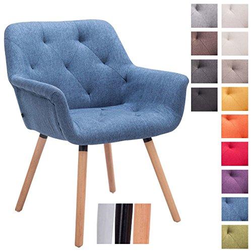 CLP Chaise de visiteur CASSIDY, chaise retro avec accoudoirs, capacité de charge max 150 kg, revêtement en tissu bleu, piètement en bois: couleur nature
