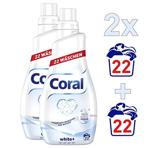 Coral Flüssigwaschmittel, für strahlendes Weiß White+ mit Faser-Schutz-Serum, 2er Pack (2 x 22 WL)