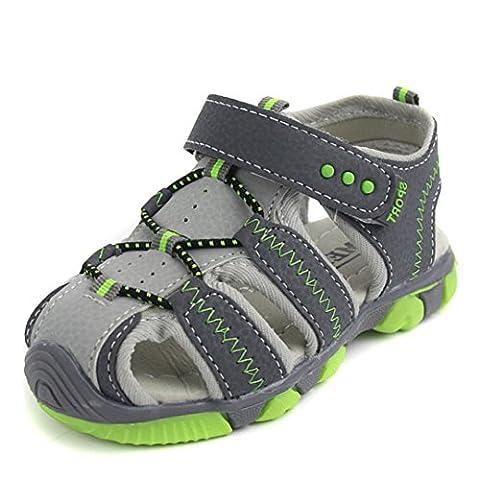 Kinder Sandalen, FEITONG Kinder Schuhe Closed Toe Sommer Strand Flache Sandalen (25, Grau)