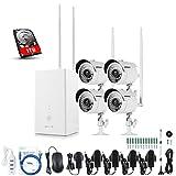 ANNKE 960P 4 Kanal WLAN Videoüberwachungsset,Netzwerk Video Rekorder + 4 * 960P Wetterfeste IP Überwachungskameras mit Nachsicht bis zu 30M für Ihnen und Außen (1TB Festplatte)