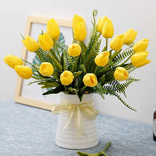 YILIYAJIA Künstliche Tulpen Blumen mit Keramik Vase Fake Tulip Brautschmuck Blumensträuße Real Touch Blumen Arrangement für Home Tisch Hochzeit Büro Dekoration Gelb