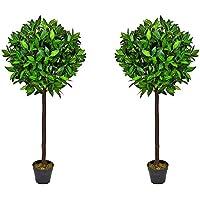4ft trees approx Par de árboles de Laurel Artificiales, 4 pies 6 cm de Alto, con Tronco de Madera Real y Hoja Natural