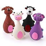 Chiwava 4 STÜCK 13 cm Quietscher Latex Hund Spielzeug groß Bauch Tier Familie Welpen Interaktive Spielen Assorted Farbe