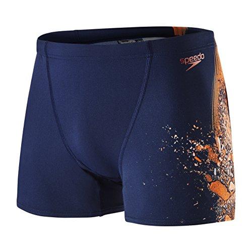 Speedo Jungen Alpha Blast Placement V Aqua Shorts, Marine/Fluo Orange, Größe 28 (Schwimmen-profil Kurze)