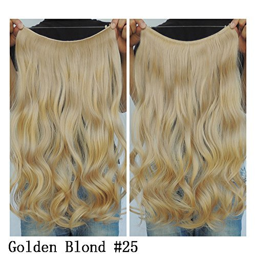Secret Halo Hair Extensions Flip in Curly Wavy Hair Extension Synthetic Women Hairpieces 20 (Golden Blonde #25) by SY (Brown Halo Extensions Hair)