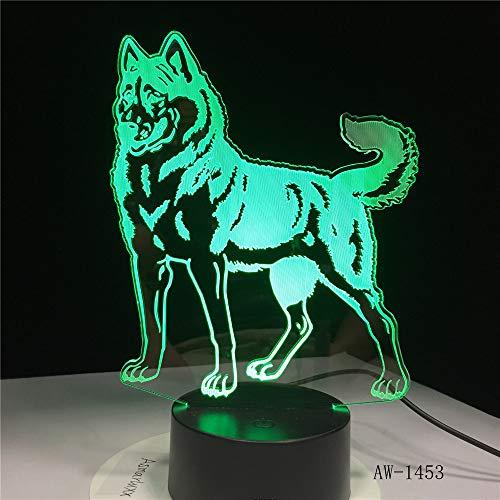 WangZJ Led Nachtlicht / 3d Illusion Lampe / 7 Farbe/jungen Geschenke/home Schlafzimmer Party Supply Dekoration/Urlaub/Standing Dog (Supplies Schlumpf Party)