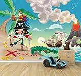 selbstklebende Fototapete - Kindertapete - Pirat auf Insel - Cartoon - 265x200 cm - Tapete mit Kleber – Wandtapete – Poster – Dekoration – Wandbild – Wandposter – Wand – Fotofolie – Bild – Wandbilder - Wanddeko