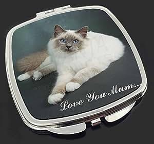 Birma -Katze 'Love You Mum' Make-up Taschenspiegel Weihnachtsgeschenk