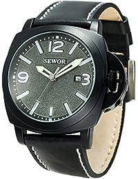 SEWOR reloj para hombre piel negocios automático reloj Full negro Funda Interruptor corona gris Dial