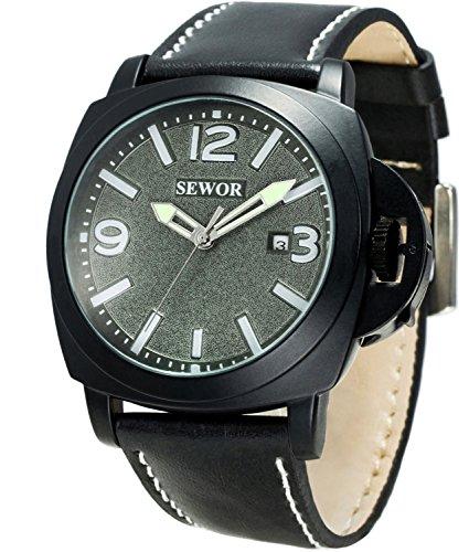 Sewor Mens Business Leather Automatic Mechanical Watch Black Case Calendar Switch Crown WristWatch Luminous Pointer