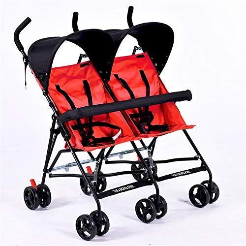 Lvbeis Zwillinge Kinderwagen Doppel Buggy Falten Kinderbuggy Leichte Kombiwagen,red (Doppel-kinderwagen Falten)