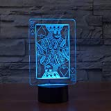 K 3D LED Veilleuse 7 Couleurs Changingp Creative Poker King Lampe de Bureau Chambre...