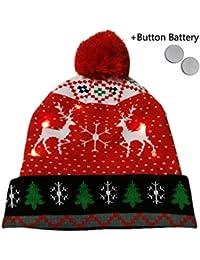 b57d11059e88 Bonnet de Noël d éclairage à LED en tricot Chapeau Chapeaux de fête cadeaux  de