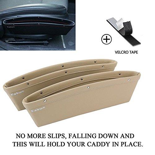 Preisvergleich Produktbild KOBWA Leder Autositz-Seiten-Schlitz-Taschen, Auto Catcher Organizer, Füllt Lücken Um Artikel Zu Verhindern Droping Zwischen Sitz und Konsole (Packung mit 2, Beige)