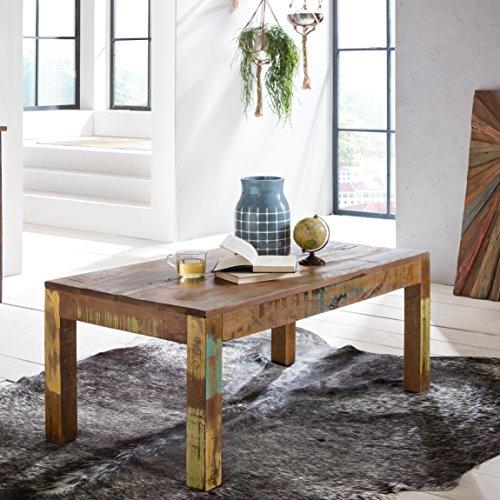 FineBuy table basse 110 x 60 x 47 cm recyclage table basse en bois massif Vintage | Villa design Table basse | Table pour Salon Shabby Chic en manguier