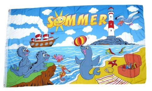 Flagge / Fahne Sommer Leuchtturm 90 x 150 cm
