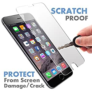 "Formal Funky™ Tempered Glass [Screen Protector] (Scratch Resistant) with Microfiber Cloth Alcohol Swab and Placement Instructions/Curved Corners/Clear/Bubble free Placement/Scratch Resistant [5.5""] For Apple iPhone 6S Plus/6 Plus"