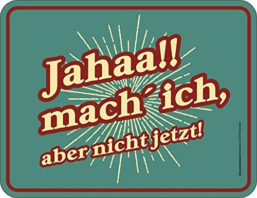 empireposter Fun - Jahaa! Mach ich! - Spruch Blechschild mit 4 Saugnäpfen - Größe 22x17 cm
