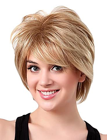 Perruque WIGSTYLE Perruque Monofilament Cheveux Synthétiques Blonds Courts à Frange