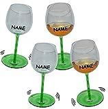 4 Stk _ lustige Weingläser mit Shaking Effekt incl. Namen - Grün mit Stiel - Wackelglas Gläser Wackelt - Wein Glas - Weine Weinglas