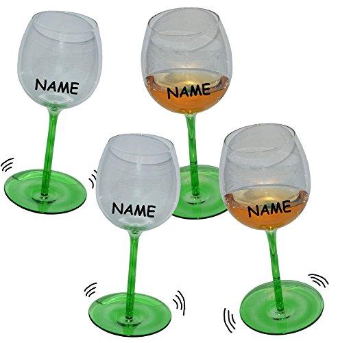 Unbekannt 4 Stk _ lustige Weingläser mit Shaking Effekt incl. Namen - Grün mit Stiel - Wackelglas...