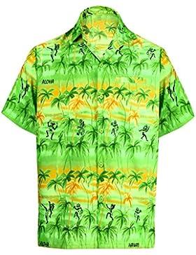 La Leela likre hawaii Ballerine di hula spiaggia campo tasca Camicia hawaiana uomini rossi