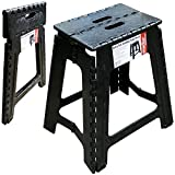 Marko Homewares Extra Tall Large Folding Step Stool Black Plastic Strong Home Kitchen Easy Carry