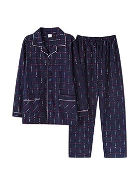 Loveni Pijama De Hombre 2 Piezas Conjunto Pijama De Manga Larga Azul Pijama De Los Hombres Botón De Desgaste Casual...