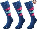 Comodo 3 Paar Bequeme Langlebige REIT-Socken | AntiZecken | AntiMücken | REIT-Strümpfe | Reiter-Strümpfe | Knie-Strümpfe 39-42 Insect - Blue/Pink/Azure