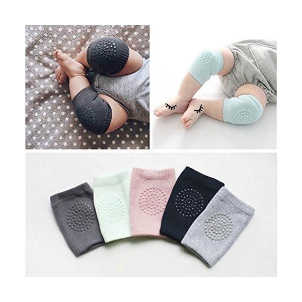 Rodilleras para niños de algodón niños strisciante irrompible Socks Terry antideslizante protección para codo de los… 2