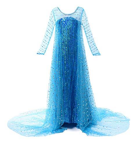 JerrisApparel Prinzessin Kostüm Karneval Verkleidung Party Kleid (110, Pailletten ELSA)