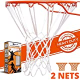 Betterline Lot de 2 filets de basket-ball robustes de haute qualité professionnelle à 12 boucles Blanc