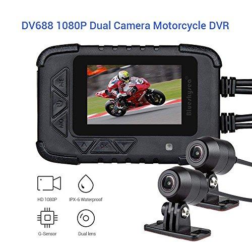 Dash CAM para Motocicleta, Blueskysea DV688 Cámara de Motocicleta con GPS 1080P Dual Lente Sony Sensor 2.35' LCD Pantalla 130° G-Sensor Video Recorder Dash CAM Motorcycle de Visión Nocturna (+GPS)