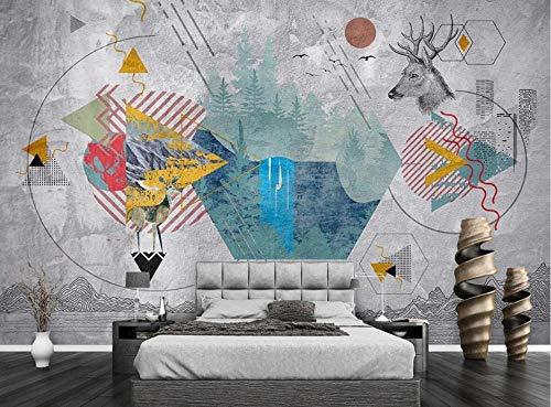 Carta Da Parati Effetto 3d Fotomurali Murale Testa Di Cervo Geometrico Colorato Muro Di Cemento Grigio Design Murale Decorazione Murales Da Parete 430cmx300cm