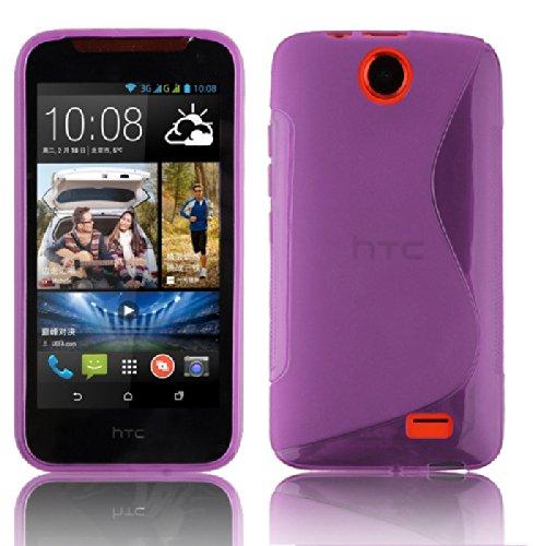 Cadorabo Hülle für HTC Desire 310 Hülle in Handyhülle aus flexiblem TPU Silikon im S-Line Design Silikonhülle Schutzhülle Soft Back Cover Case Bumper Flieder Violett