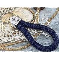 MOIN - Schlüsselanhänger Schlaufe - dunkelblau - handgetüdelt in Hamburg - maritimes Geschenk, für einen Umzug nach Norddeutschland oder an die Küste