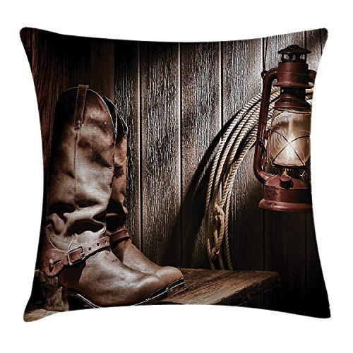 beautiful& Western Decor Pillow case Dallas Cowboys and Lantern on a Bench in Vintage Ranch Nostalgic Folkloric Print Throw Pillow Covers 20x20 Inches
