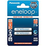 Panasonic eneloop, Ready-to-Use Ni-MH Akku, AAA Micro, 2er Pack, min. 750 mAh, 2100 Ladezyklen, geringe Selbstentladung