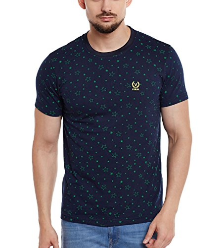 VIMAL Men's Printed Round Neck Cotton T-Shirt (Navy, Large)
